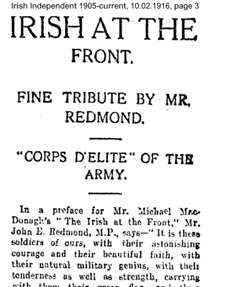 Irish At The Front Article 10.02.1916