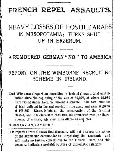 Irish Independent 01.02.1916 World Headlines