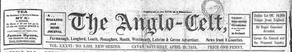 The Anglo-Celt 29.April.1916