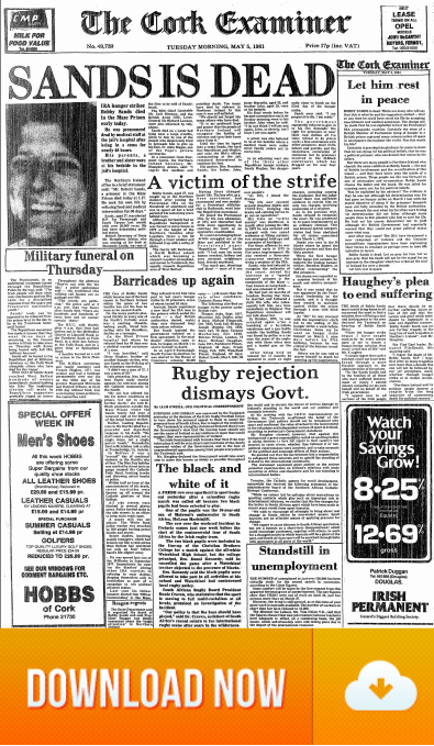 Cork Examiner 05.May.1981 Bobby Sands