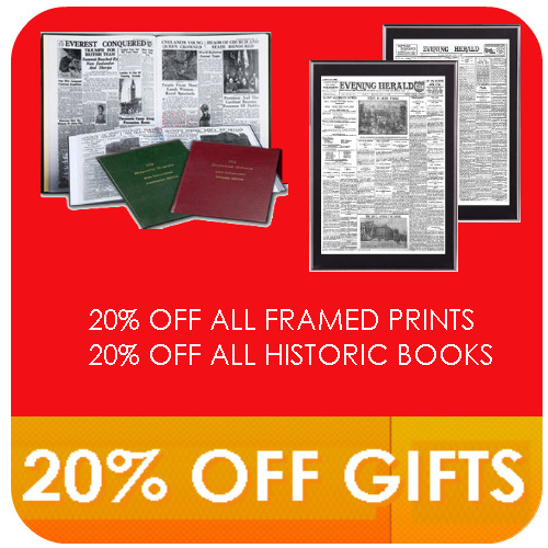 Newspaper Reproductions Evening Herald 20% off