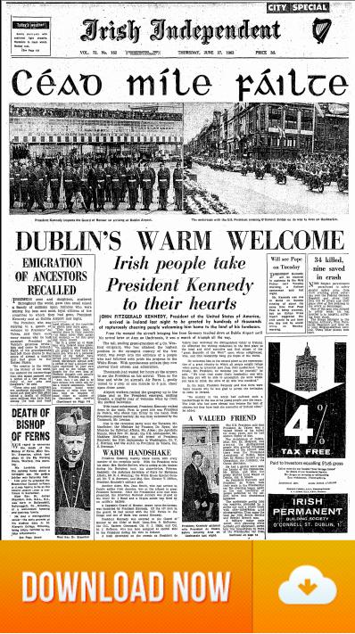 JFK Visits Ireland 27 June 1963 - Welcome to Ireland JFK