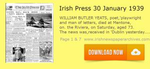 Irish Press January 30 1939 reports on W B yeats