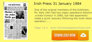 Irish Press Luke Kelly Dubliners 31 January 1984