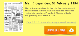 Irish Independent 01 February 1994 Gerry Adams granted US visa