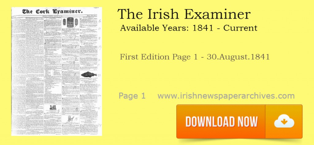 The Cork Examiner 30 August 1841 First page download