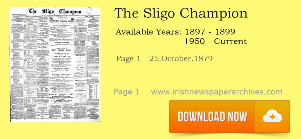 The Sligo Champion October 1879 Newspaper front page download