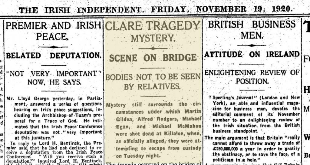 16 November 1920 Massacre at Killaloe Bridge