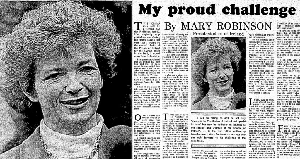 Mary Robinson elected president of Ireland