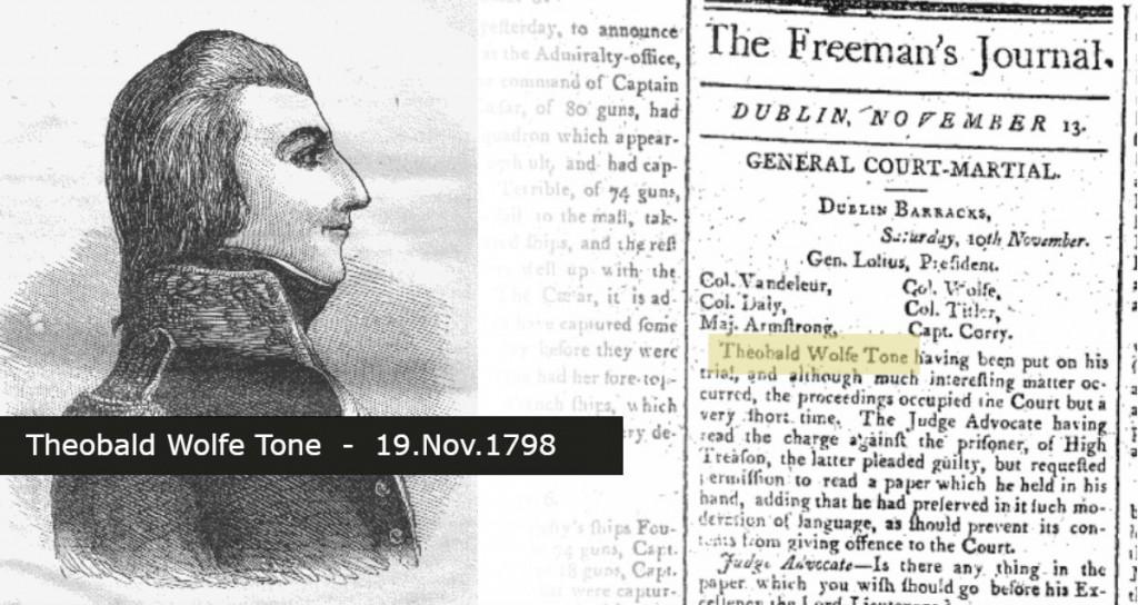 Theobald Tone Wolfe dies 19.November.1798
