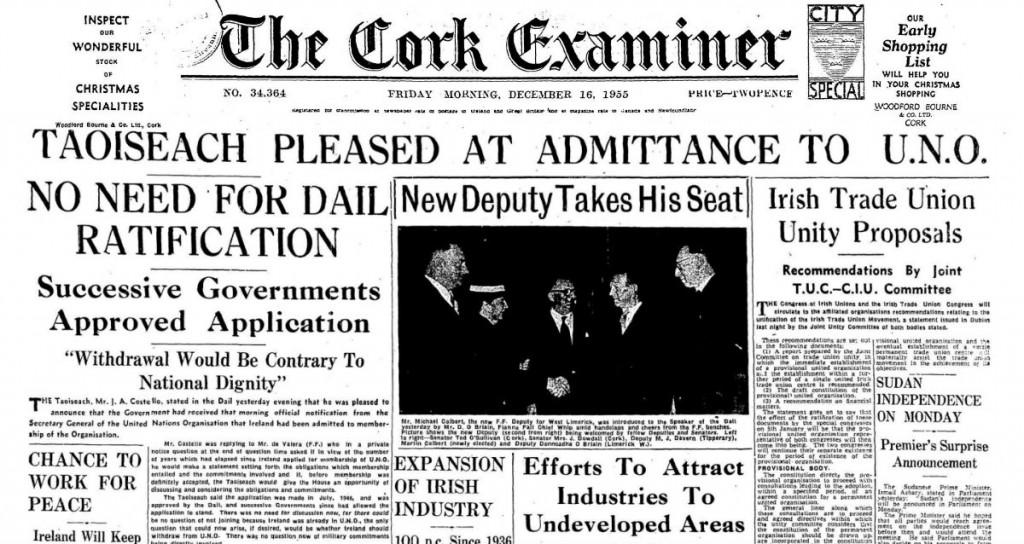 Irish Examiner 1841-current, Friday, December 16, 1955 join UN