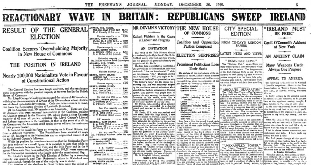 On this day in 1918 the results of the General Election in Ireland gave Sinn Fein