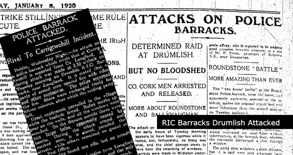 Drumlish Barracks attacked 08.January.1920