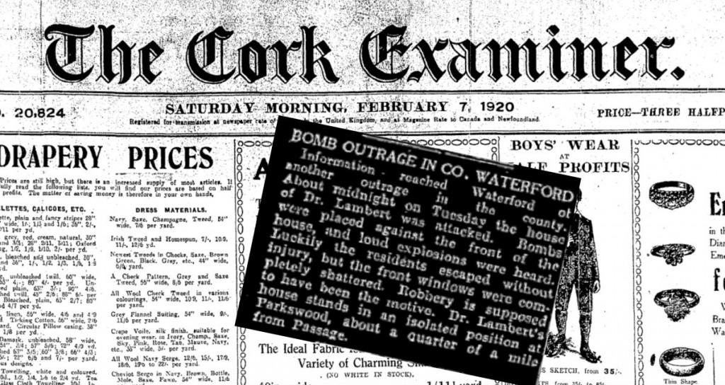 Cork Examiner 07.February.1920  Bomb attack