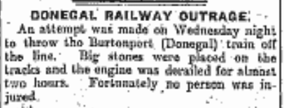 Donegal RAILWAY OUTRAGE February 1920
