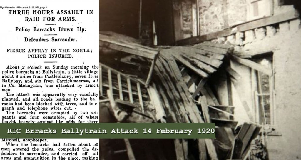 RIC BALLYTRAIN barracks 14 fEBRUARY 1920 IRA ATTACK