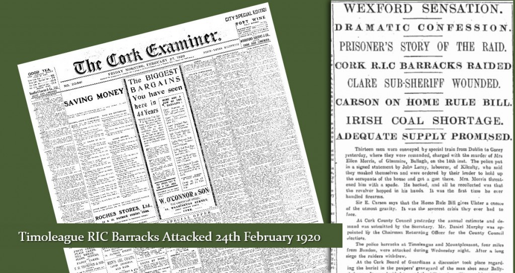 Timoleague RIC Barracks attacked Cork Examiner