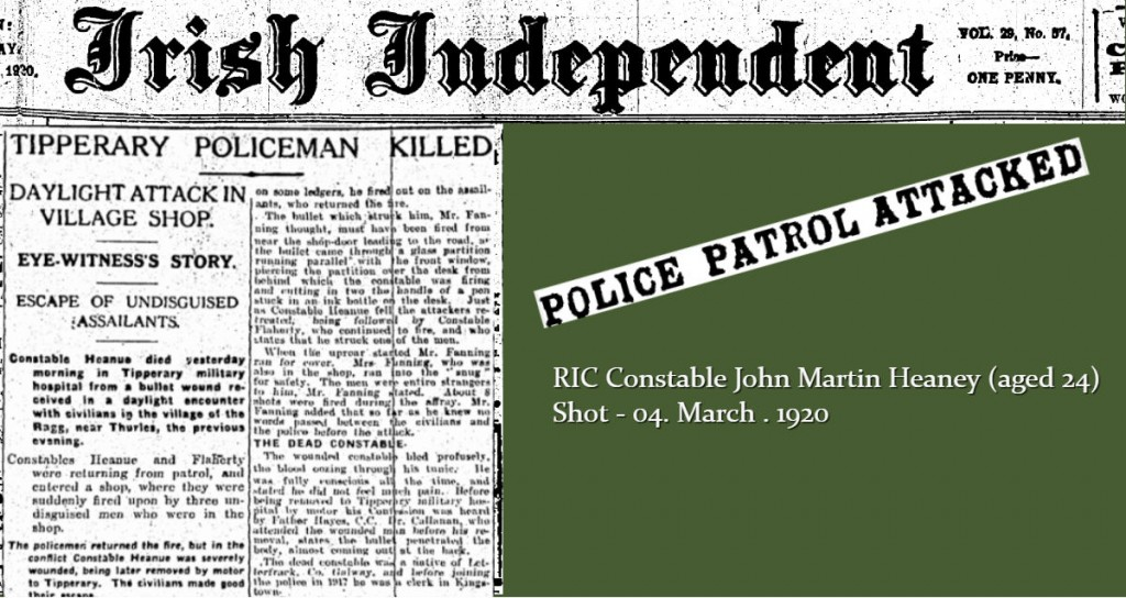 RIC Constable John Martin Heaney aged 24 shot dead