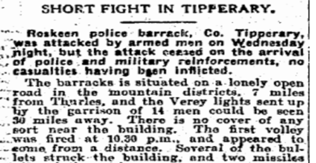 Irish Independent IRA Attack Roskeen 07.April.1920
