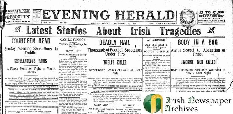 Evening Herald 22.november.1920 - Bloody Sunday