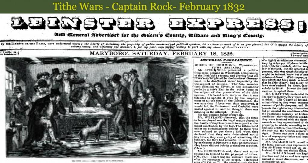Tithe Wars Leinster Express 1832