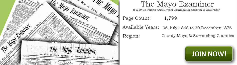 The Mayo Examiner Newspaper Archive 1868 -1876 Main image block